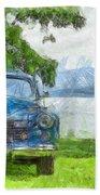 Vintage Blue Caddy At Lake George New York Bath Towel