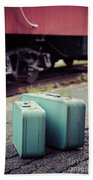 Vintage Blue Suitcases With Red Caboose Hand Towel by Edward Fielding