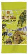 Vintage California Travel Poster Bath Towel