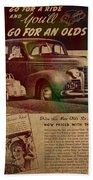 Vintage Car Advertisement 1939 Oldsmobile On Worn Faded Paper Bath Towel