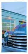 Vintage Chevrolet At The Gas Station Hand Towel