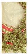 Vintage Christmas Garland Bath Towel by Amanda Elwell