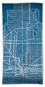 Vintage Detroit Rail Concept Street Map Blueprint Plan Bath Towel