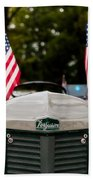 Vintage Ferguson Tractor With American Flags Bath Towel