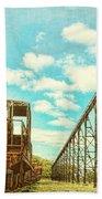 Vintage Industrial Postcard Bath Towel