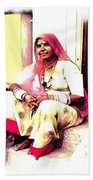 Vintage Just Sitting 2 - Woman Portrait - Indian Village Rajasthani Bath Towel