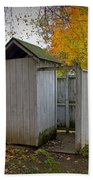 Vintage Outhouse Alongside A Historical Country School In Southwest Michigan Bath Towel