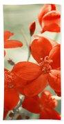 Vintage Red Flowers Bath Towel