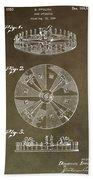 Vintage Roulette Wheel Patent Bath Towel