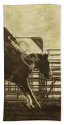 Vintage Saddle Bronc Riding Bath Towel