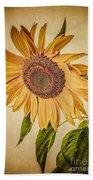 Vintage Sunflower Bath Towel