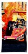 Vintage Top Fuel Dragster Fire Burnout-wild Bill Carter Bath Towel