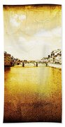 Vintage View Of River Arno Hand Towel