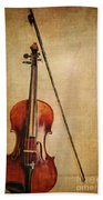 Violin With Bow Bath Towel