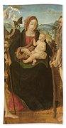 Virgin And Child Between St. John Bath Towel