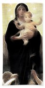 Virgin And Child Fractalius Bath Towel