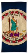 Virginia State Flag Art On Worn Canvas Bath Towel