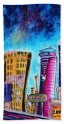 Viva Las Vegas A Fun And Funky Pop Art Painting Of The Vegas Skyline And Sign By Megan Duncanson Bath Towel