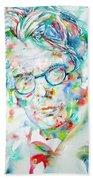 W. B. Yeats  - Watercolor Portrait Bath Towel