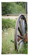 Wagon Wheel In Grass Bath Towel