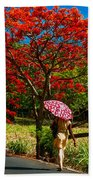 Walking Along The Road. Mauritius Bath Towel