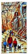 Walking The Dog By Balconville Winter Street Scenes Art Of Montreal City Paintings Carole Spandau Bath Towel