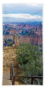 Walkway Out On Point Imperial At 8803 Feet On North Rim Of Grand Canyon National Park-arizona  Hand Towel