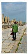 Walkway To Harbor In Ephesus-turkey Bath Towel