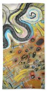 Wandering In Thought2 Original Abstract Colorful Landscape Painting For Sale Yellow Blue Green Hand Towel