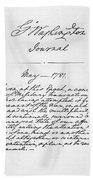 Washington: Journal, 1781 Bath Towel