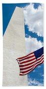 Washington Monument And Flag Bath Towel