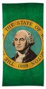Washington State Flag Art On Worn Canvas Hand Towel by Design Turnpike