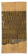 Washington Word Art State Map On Canvas Bath Towel
