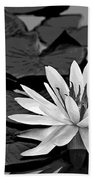 Water Lily Black And White Bath Towel