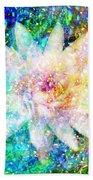 Water Lily With Iridescent Water Drops Bath Towel