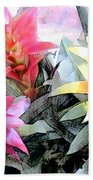 Watercolor And Ink Sketch Of Colorful Bromeliads Bath Towel