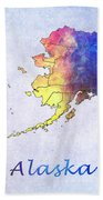 Watercolor Map Of Alaska      United States Bath Towel