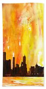 Watercolor Painting Of Skycrapers Of Downtown Chicago As Viewed  Bath Towel