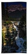 Waterfall And Mountain In Jasper Bath Towel