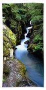 Waterfall, Glacier National Park Bath Towel