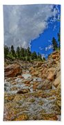 Waterfall In The Rockies Bath Towel