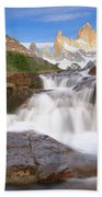 Los Glaciares Waterfall Bath Towel by Yva Momatiuk John Eastcott