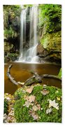 Waterfall With Autumn Leaves Bath Towel