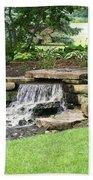 Waterfall With Coneflowers Bath Towel