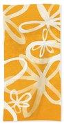 Waterflowers- Orange And White Hand Towel