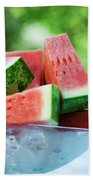 Watermelon Wedges In A Bowl Of Ice Cubes Hand Towel