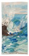 Wave At Sunset Beach Bath Towel