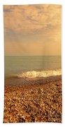 Wave On Rocky Beach Bath Towel