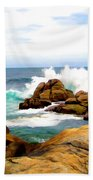 Waves Crashing On Shoreline Rocks Bath Towel