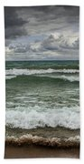 Waves Crashing On The Shore In Sturgeon Bay At Wilderness State Park Bath Towel